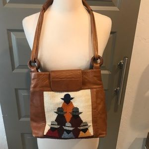 Vintage Columbian Tapestry leather Trim Bag
